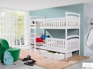 kinderbett etagenbett hochbett kinder bett holz 2 betten stockbett 90x190 weiss ebay. Black Bedroom Furniture Sets. Home Design Ideas