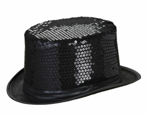 Black Cylinder Hat with Paillettes for Carnival Party Fancy Dress WIDMANN