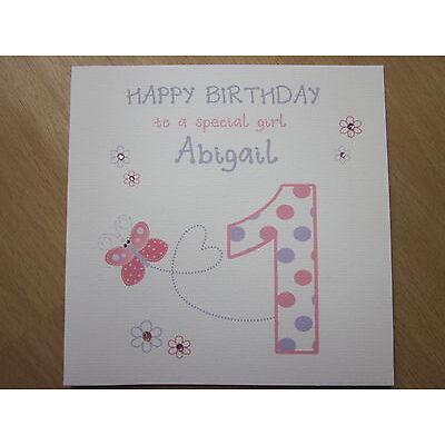 Personalised Handmade Girl 1st First Birthday Card