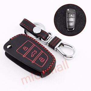 Details about Leather Key Shell Bag Box Case Ring Holder Fob Cover For Audi  A1 A3 A6 S3 Q3 Q7