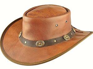 Vera pelle Cappello da Cowboy Stetson Aussie Marrone Fatto a Mano ... 588716830052