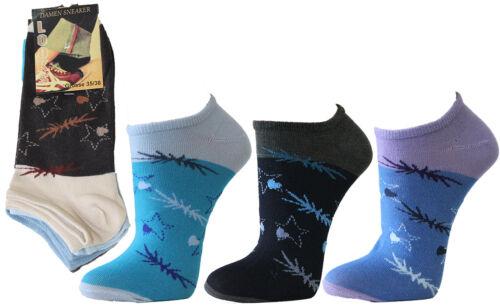 12Paar Damen Sneaker Socken mit Design Sternchen WOW