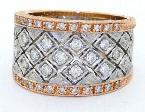 Vintage-heavy-18K-2-tone-gold-0-74CT-VS-diamond-cluster-cocktail-ring-size-7