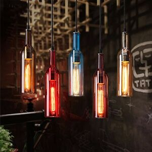 LED Wine Ceiling Bottle Glass DIY Pendant Loft Fixture Chic Hang Light Lamp