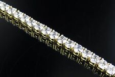 Yellow Gold Sterling Silver One Row Pronged Tennis Lab Diamond Bracelet 7.5""
