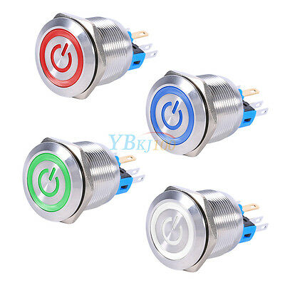 22mm 12V LED Waterproof Stainless Steel Self-locking Push Button Power Switch