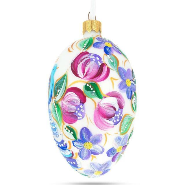 Purple Drops Glass Egg Christmas Ornament