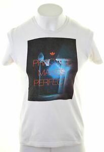 Adidas-para-hombre-Graphic-T-Shirt-Top-Algodon-Blanco-Pequeno-FW01