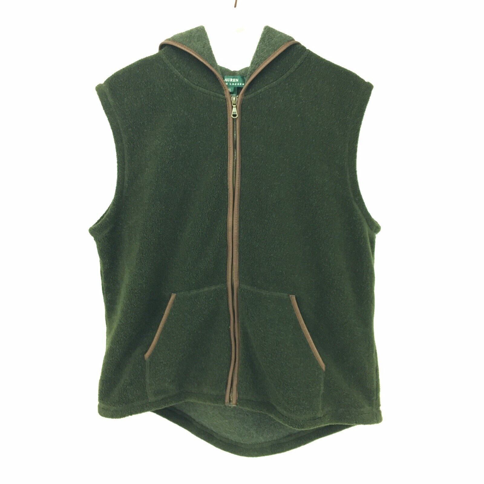 Ralph Lauren Fleece Full Zip Vest With Hood Size XL Green