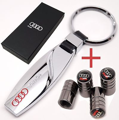 AUDI KEYRING KEY CHAIN + TYRE VALVE CAPS IN SAME GIFT BOX