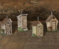Country Resin Outhouse Shower Curtain Hooks Set/12