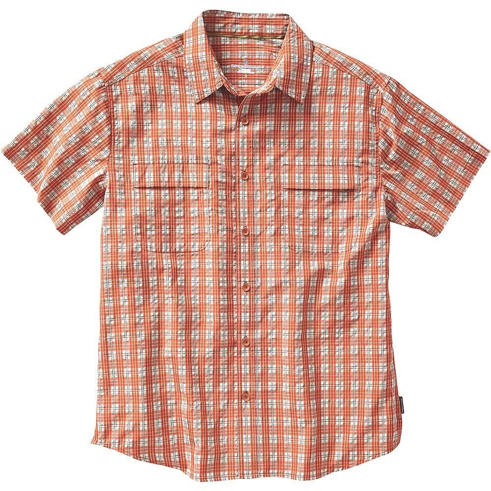 Men's Royal Robbins size Small S orange Plaid Short Sleeve Button Up Shirt NEW
