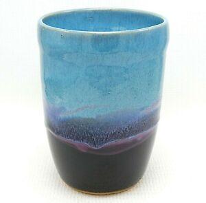 Wine-Cooler-Utensil-Holder-8-034-Turquoise-Black-Studio-Pottery-Drip-Glaze-Ceramic