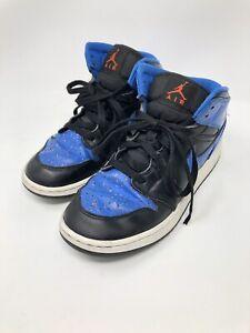 the best attitude f9cc4 30795 Details about Air Jordan 1 Boy's Mid Top Basketball Shoes Black/Signal Blue  554725-048 7Y 6 40