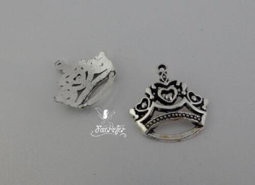 Princesa Estilo Tiara Colgantes o grandes encantos Corona de cuento de hadas X 2 Plateado Plata