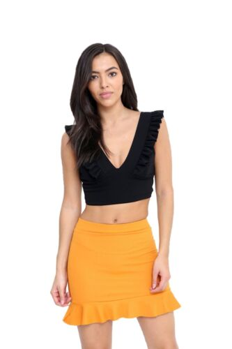 Ladies Ruffle Frill Plunge V Neck Sleeveless Crepe Backless Crop Top Bralet