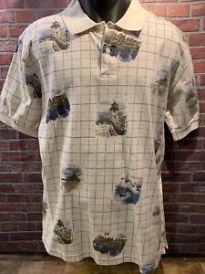 3401eb4f2c78 CHAPS Ralph Lauren Beach Bay Boating Lighthouse Polo Shirt Size L | eBay