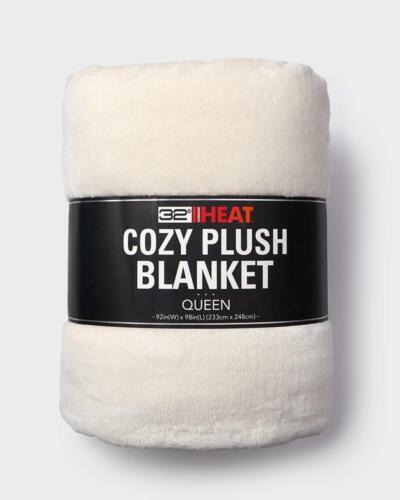 """32 Degrees Heat Queen 92/"""" x 98/"""" Choose Color Plush Fleece Faux Fur Blanket"""