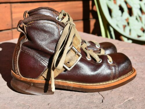 vtg 40's 50's children's kids leather SKI BOOTS bu