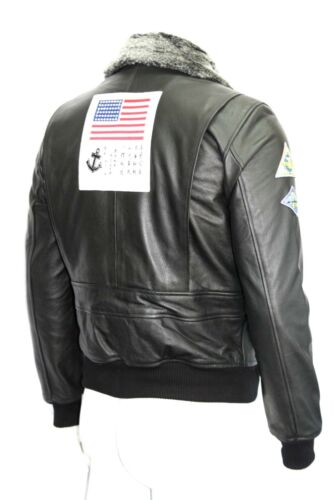 Air Style Leather Collar Movie Top Force Black Gun Fur Hide Badges Jacket Mens OqptwY1P1