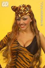 Tiger Print Velvet Headdress With Wig Jungle Book Animal Fancy Dress