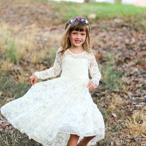 Gianna Flower Girl Dress Birthday Party Christening Baby Lace Gown FREE Headband