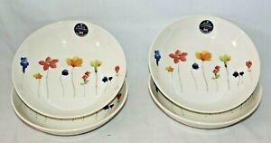 Royal-Stafford-Spring-Multi-Color-Floral-Porcelain-Pasta-Bowls-Set-of-Four-New