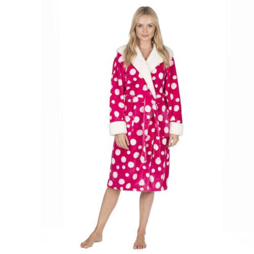 Ladies Super Soft HOODED Fleece Dressing Gown Robe Nightwear Hot Pink or Grey
