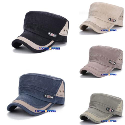 Herren Damen Hüt Strapback Kadett Militär Baseball Cap Flache Kappe Schirmmütze