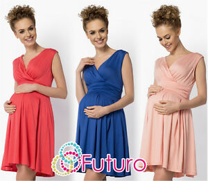 Ladies-Maternity-Summer-Empire-Dress-Sleeveless-Wrap-Tunic-Plus-Sizes-8-18-FM26