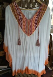 Tribal-Ombre-White-and-Orange-Kaftan-size-L-Ellis-amp-Dewey-BNWT