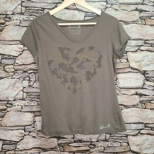 Seven7 Womens T-Shirt Size Large Army Olive Green Heart Camouflage Short Sleeve