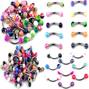 Eyebrow Ring Curve barbells pack of 8 with Bright Colors Acrylic Balls 16g