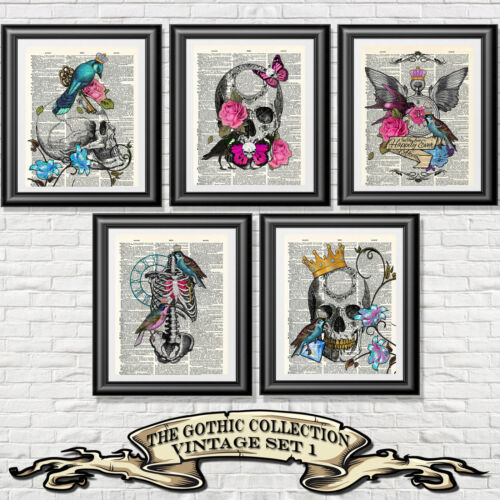 ART PRINT ON ANTIQUE BOOK PAGE Vintage Set 5 Gothic Tattoo Skulls Dictionary