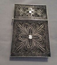ANTIQUE VICTORIAN STERLING SILVER FILIGREE CARD HOLDER