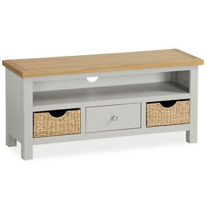new style 77b83 835aa Details about Farrow Grey TV Stand with Baskets / Large Painted TV Unit /  Solid Wood / Oak Top