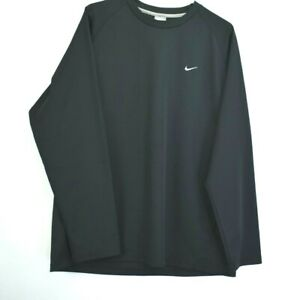 Nike-Men-039-s-Large-Mesh-Long-Sleeve-Active-Athletic-Gym-Workout-Shirt-Poly-Black