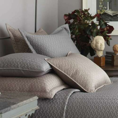DRANSFIELD /& ROSS VANNERIE QUILTED STANDARD PILLOW SHAMS TAUPE