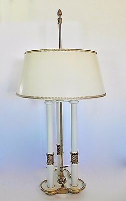 RARE Stiffel French Country Off White Vtg Brass Bouillotte Table Lamp Orig Shade