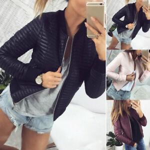 Frauen-Kunstleder-Jacke-Oberteile-Warm-ZipUp-Outwear-Herbst-Wintermantel-Schwarz