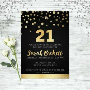 21ST-BIRTHDAY-INVITATIONS-AGE-TWENTY-ONE-GOLD-PERSONALISED-PARTY-SUPPLIES-INVITE