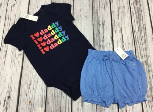 Nwt Baby Gap Girls 12-18 Months I Love Daddy Shirt /& Blue Shorts Cotton Outfit