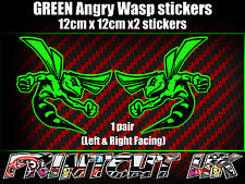 Pair of GREEN Angry Wasp Stickers laptop helmet bike car scooter vespa hornet