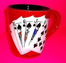 SPADES ROYAL FLUSH Key Largo FL Red Black Poker COFFEE Mug Cup 2006 Gift Depot