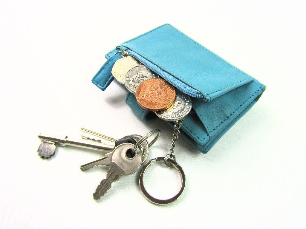 Unisexe Premium Souple Porte Carte Cuir Porte-Monnaie Clé Chaîne Portefeuille