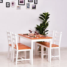 5pc Dining Table Chairs Set Solid Wood Kitchen Breakfast Dinette Furniture