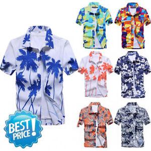 Hawaiian-Mens-Shirt-Summer-Floral-Printed-Beach-Short-Sleeve-Tops-Blouse-New