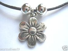 Daisy flower shaped dark silver pendant black waxed cotton cord necklace