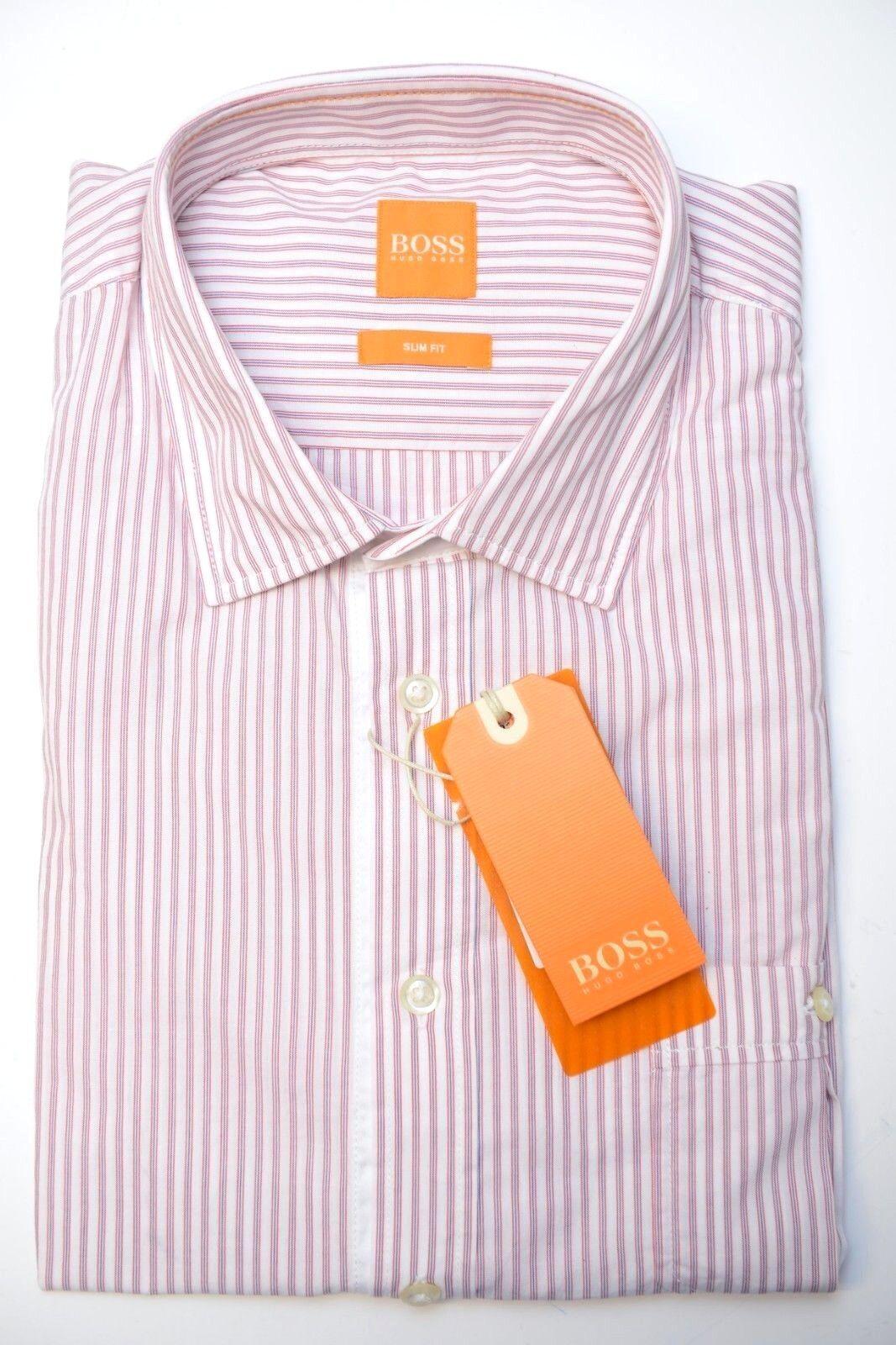 d0ff630e7 Hugo Boss Orange Men's Slim Fit Dark Red Striped Cotton Casual Shirt ...