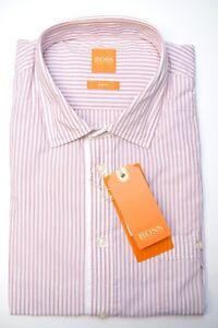Hugo-Boss-135-Men-039-s-EslimE-Slim-Fit-Red-Blue-Striped-Cotton-Casual-Shirt-L